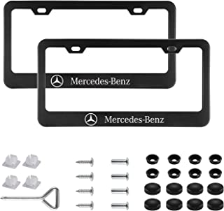 Sparkle-um 2pcs Newest Matte Aluminum Alloy License Plate Frame,with Screw Caps Cover Set Suit,Applicable to US Standard car License Frame,for Mercedes Benz(Black)