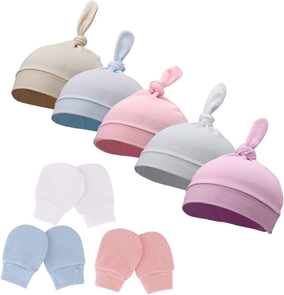 Newborn Hospital hat and Mittens Baby Ranking TOP16 Cap Beanie Knot Infant Max 66% OFF Hat