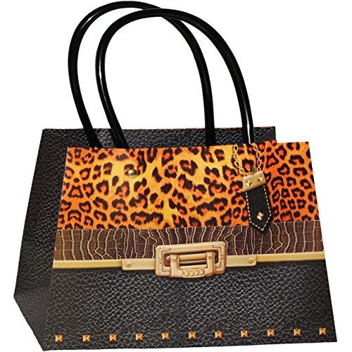 alles-meine.de GmbH 3-D Effekt _ Geschenktasche / Geschenkbeutel -  Clutch - Damen Handtasche - schwarz / Leopard  - Tasche Kinder Erwachsene - Geschenktüte / Geschenkverpackun..