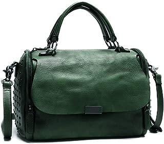 IVTG Genuine Leather Satchel Bag for Women Vintage Handmade Top Handle Crossbody Handbag