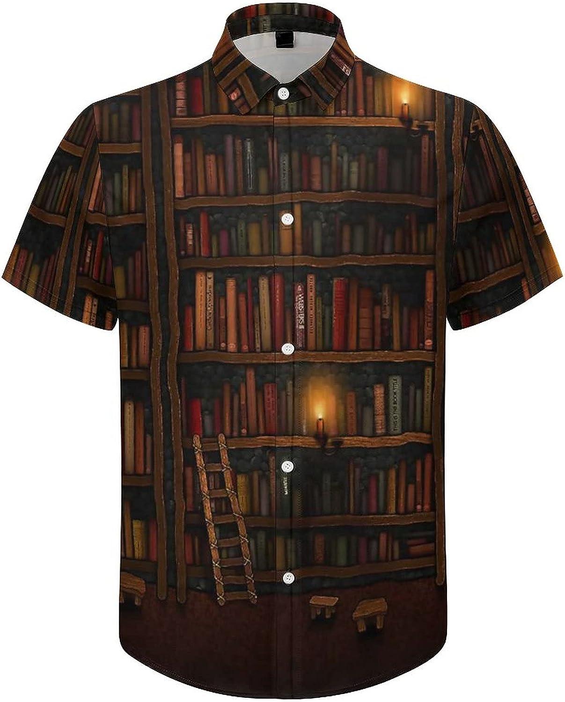 Mens Button Down Shirt Vintage Library Bookshelf Casual Summer Beach Shirts Tops