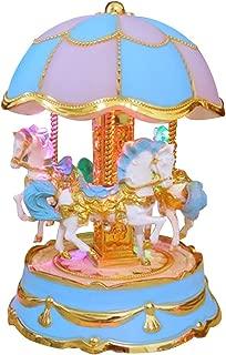HorBous Plastic Clockwork LED Carousel Merry-Go-Round Music Box (Azul púrpura)