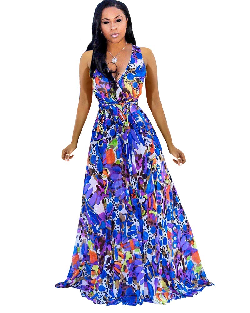 Available at Amazon: Women's Summer Maxi Dresses Sleeveless Wrap V Neck Chiffon Floral Beach Long Casual Dress