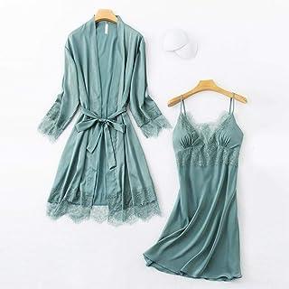 قطعتين ملابس نوم نسائية جديدة مثيرة + تنورة نوم دانتيل ساتان للسيدات ملابس نوم نسائية برقبة على شكل حرف V مريحة وناعمة