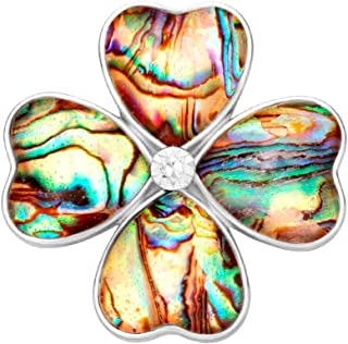 Gold Four Heart Leaf Abalone Shell Flower Magnetic Clip Holder Brooch Jewelry