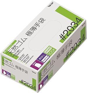 川西工業 天然ゴム極薄手袋 粉なし 100枚入 #2034 ナチュラル M