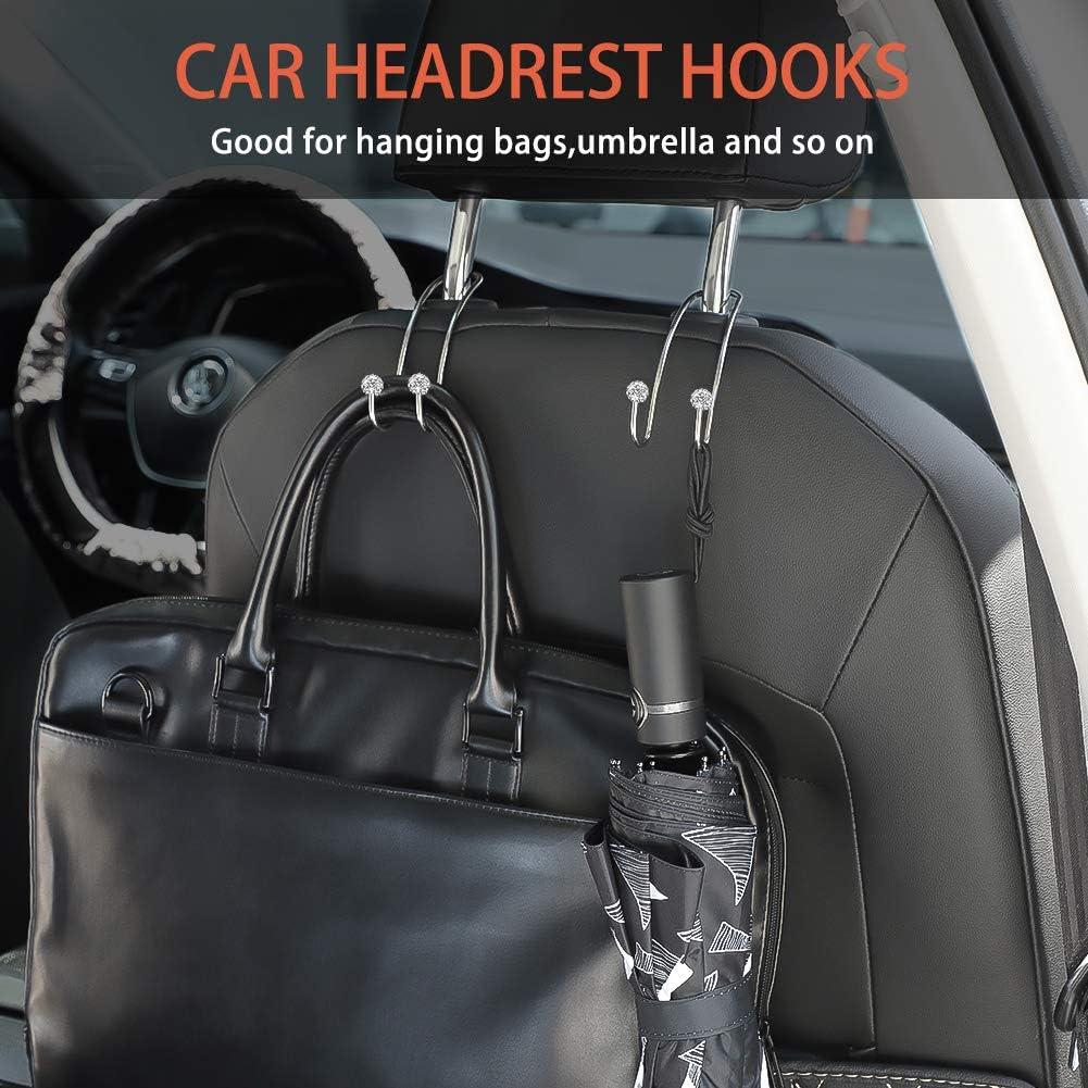 Otostar Car Hooks Durable Car Hangers Seat Headrest Hooks Multifunctional Car Hangers Organizer Bling Backseat Auto Hooks for SUV Truck Vehicle Gold, 4 Pack