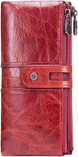 Leather Women's Wallet Leather Casual Long Section Suede Leather Female Clutch Waterproof (Color : Red, Size : S)
