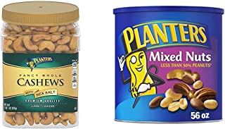 PLANTERS Fancy Whole Cashews with Sea Salt, 33 oz. Resealable Jar & Mixed Nuts with Sea Salt, 56 oz. Resealable Canister -...
