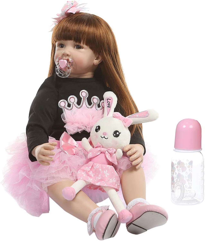 VIVIANU 60 cm Lebensechte Puppe aus Silikon Mdchen lange Prinzessin Kleidung Schnuller Realistische Geschenke