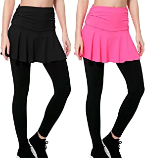 Women's Gym Skirted Leggings Tight 4 Ways Shaping Hip Push Up Yoga Pants