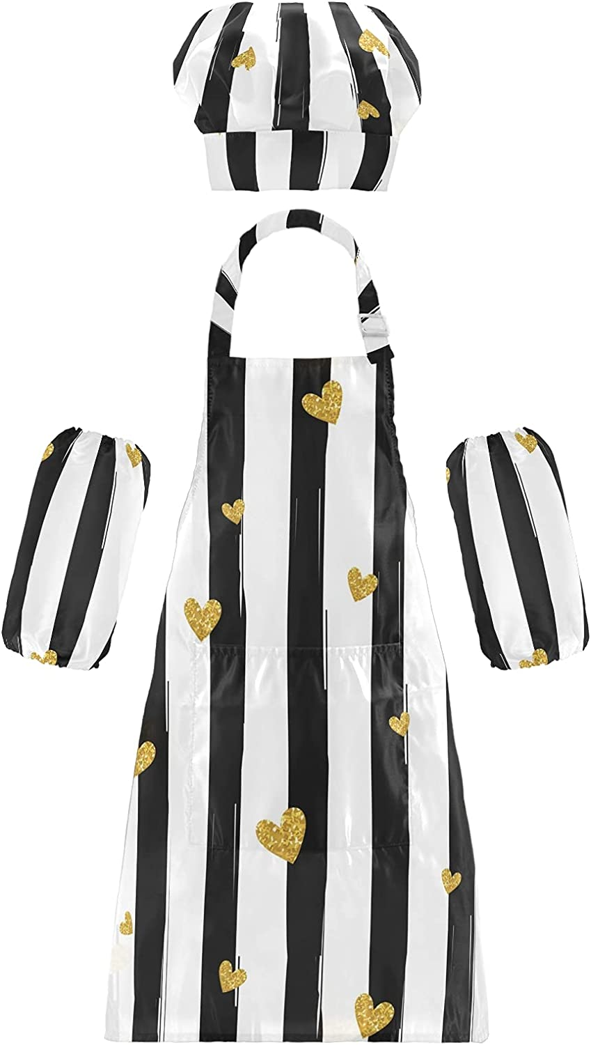 Kids Animer and price revision Apron Chef Hat Set for Waterproof Heart Stripe w Boys Girls Popular shop is the lowest price challenge