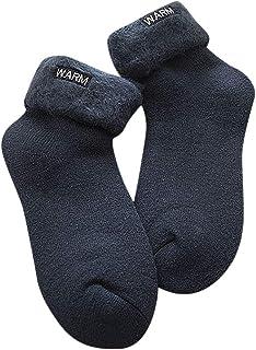 ZODOF Calcetines Invierno Mujer Moda térmicos Rizado Grueso Cepillado Letras Calentar Calcetines Bordados calcetin Deporte Mujer