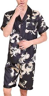 qianqianq Mens 2PCS Sets Dragon-Printing Turn-Down Collar Pajama Novelty Sleep Set