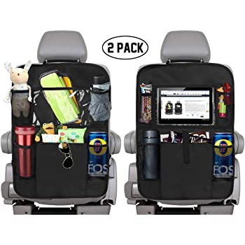 "KNGUVTH Backseat Car Organizer Kick Mats, Car Seat Back Protectors with Clear 10"" Tablet Holder + 5 Storage Pockets Back seat Organizer for Kids Toy Bottle Drink Vehicles Travel Accessories (2 Pack)"