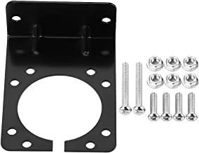 Connector Socket Mounting Bracket, Right Angle Plug Socket Bracket for 7 Pin Caravan Towing Trailer Connector with Complete Screws & Nuts Black