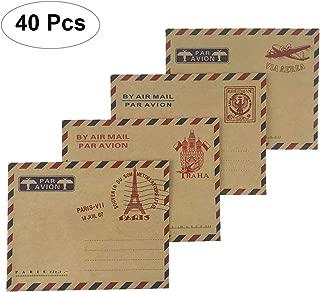 Nakimo Mini Envelopes Vintage Airmail Style Kraft Paper Envelopes Invitation Letter Envelopes Card Envelopes 4 Different Designs, Pack of 40