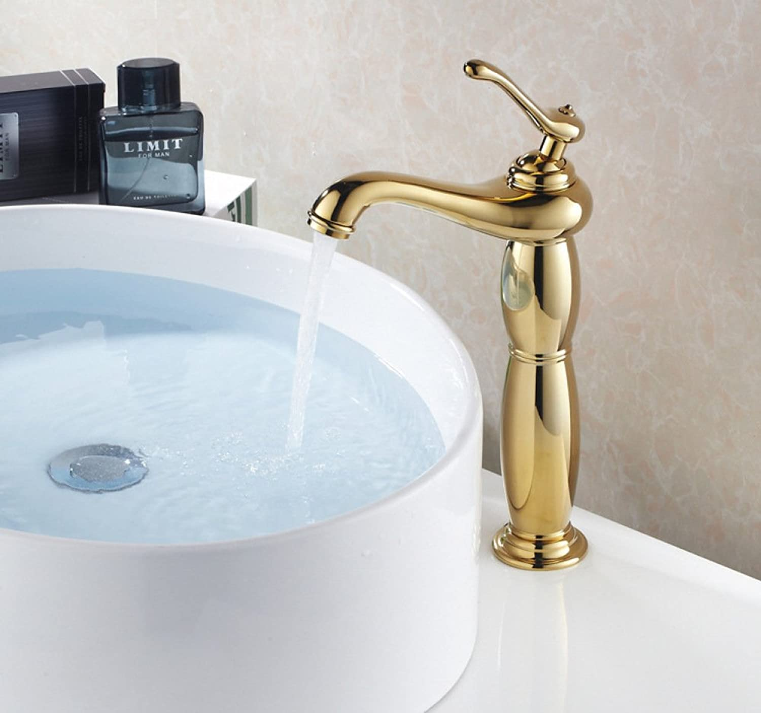 GZF Bathroom Sink Taps Faucet solid brass above-ground basin tap luxury gold with led washbasin washbasin hot and cold water tap mixing tap free-standing tap washbasin tap