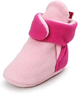 Baby Boys Girls Cozy Fleece Booties With Non Skid Bottom Infant First Walker Sock Shoes
