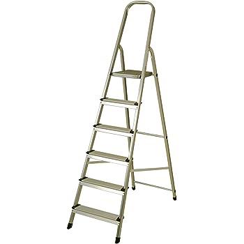 Escalera de Aluminio 6 Peldaños Catter House Alt. Máx. Trabajo 330 cm Plegable con Barandilla: Amazon.es: Bricolaje y herramientas