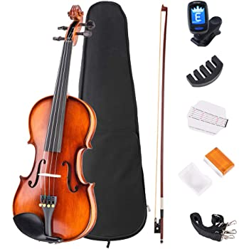 JMFinger 4/4 Full Size Vilion Set, Handcrafted Kids Starters Acoustic Violin Beginner Kit with Hard Foamed Case, Bow, Rosin
