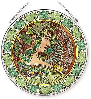 Amia Art Nouveau Ivy Handcrafted Glass, Large Circle Suncatcher, Multicolored