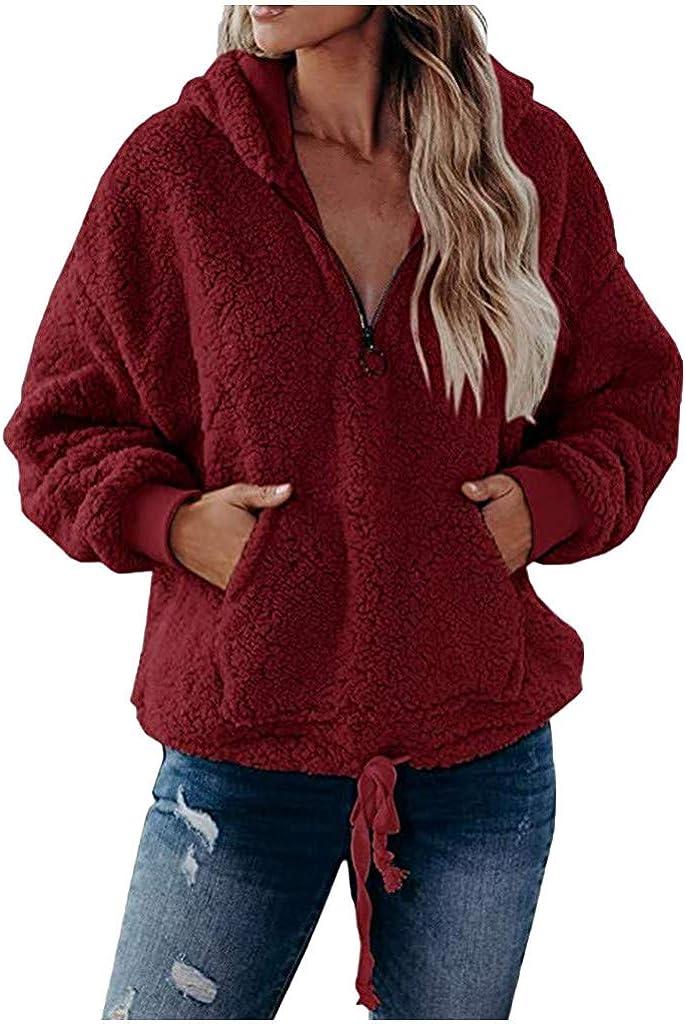 VEKDONE Women Fuzzy Fleece Hoodie Sweatshirt Casaul Zipper Oversized Sherpa Pullover Fluffy Coat Outwear with Pockets
