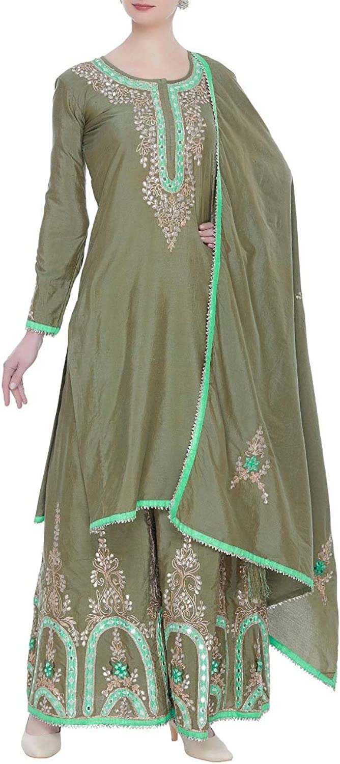 Indian Ethnic Ready to wear Olive Green Parsi Neckline Full Sleeve Long Kurti Sharara Suit Dupatta 108okh