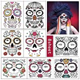 Day of the Dead Tattoos, 8pcs Sugar Skull Temporary Face Tattoos for Halloween Party Makeup...
