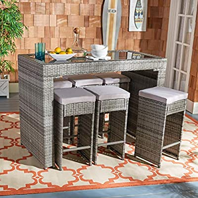 Safavieh PAT7502B Outdoor Collection Horus Grey Cushions 7-Piece Dining Set