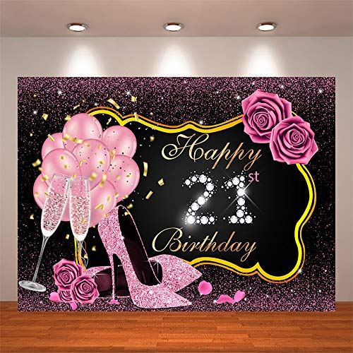 Crefelicid 7x5ft Pink Rose Gold Happy 21st Birthday Backdrop Glitter Flower High Heel Balloon 21 Birthday Party Cake Table Photography Studio Decorations Banner