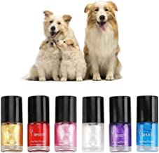 POPETPOP Dog Nail Polish Set of 6 - Non-Toxic Water-Based Pet Nail Polish, Natural and Safe, Suitable for All Pet (Cats Bi...