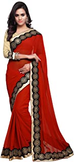Sourbh Mirchi Fashion Women Lace Work Party Traditional Indian Saree Unstitched Blouse