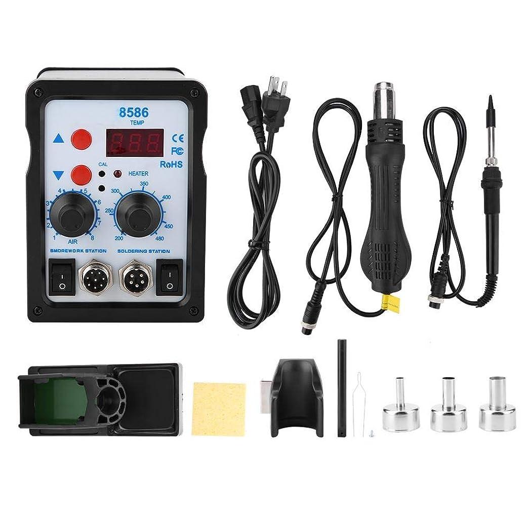 人気面軍ホットエアガン 8586 2 in 1 SMD無鉛リワークステーション、ホットガン ヒートガン&はんだごて用電話修理用(110V,US Plug)