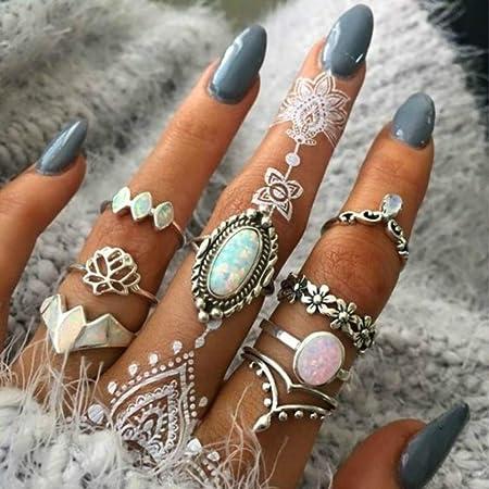 BERYUAN Women 8 Pcs Boho Gem Stone Ring Set Girl Bohemian Knuckle Flower Vintage Silver Crystal Joint Knuckle Ring Set for Women and Girls (1)