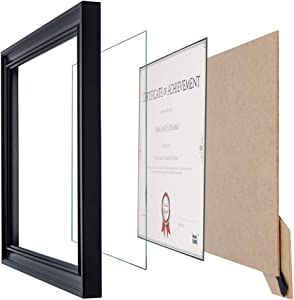 Memory Island Document Diploma Frames 8.5x11, Set of 4 Pack, Certificate Frames, Black, Glass Fronts. Vertical or Horizontal Display, Wall Decor Frame