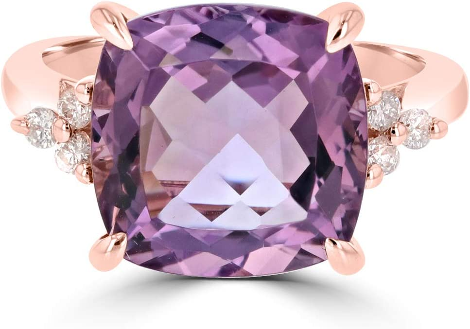 Designer Natural Amethyst Cocktail Ring in 14k Rose Gold with 0.15ct Diamonds, February Birthstone- Size 5,6,7
