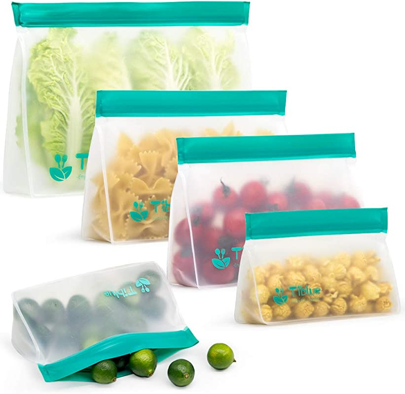 Reusable Storage Bags 5 Pack Stand UP Freezer Bags 2 Reusable Sandwich Bags 2 Reusable Snack Bags 1 Reusable Lunch Bag Extra Thick Leakproof Ziplock Bag For Food Storage BPA Free