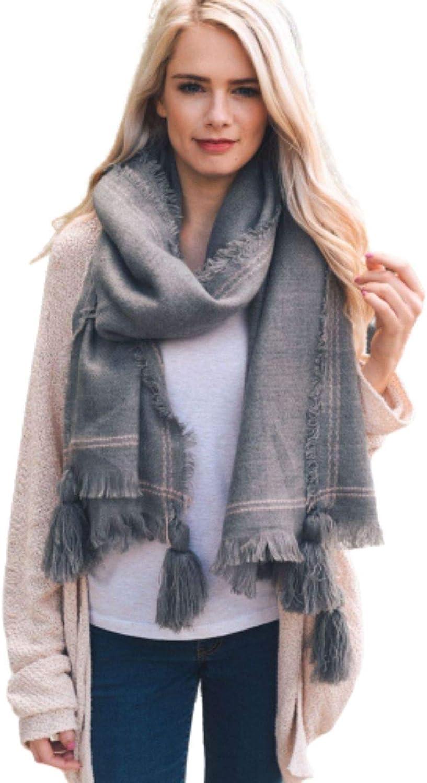 Frayed Trim Blanket Scarf Women Fall Winter Tassel Corner Cozy Accessories