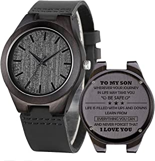 Engraved Wooden Watches, Personalized Engraved Wood Watch Japanese Movement Battery Anniversary Birthday Graduation Gift for Husband Love Dad Mom Son Friend Wooden Watches