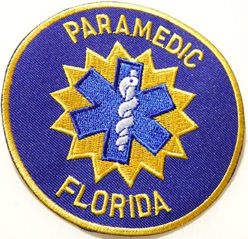 PARAMEDIC FLORIDA EMERGENCY MEDICAL SERVICES EMS Ambulance Logo T shirt Jacket Uniform Patch Sew Iron on Embroidered Sign Badge Costume