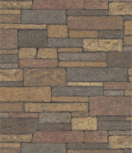 Brewster 145-41394 Northwoods Lodge Adobe Brown Bricks Wallpaper