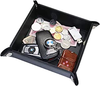 YOUBAMI Leather Valet Tray, Desk Bedside Holder Tray Catchall Jewelry Tray Dice Box Bedside Tray Key Phone Coin Watches and Candy Holder Sundries Entryway Tray with Brass Snaps, Black
