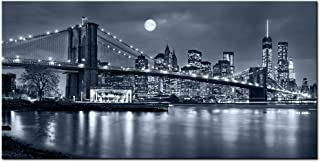 LevvArts - Large Size Brooklyn Bridge Canvas Wall Art,Moon Night New York City Scene Picture Print on Canvas,Framed Gallery Wrapped,Modern Home and Office Decoration,-24
