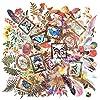 ヨクマク(JorkMack) プラスチックステッカーパック 手帳ステッカー 手帳シール マスキングステッカー 装飾用とDIY 防水 スクラップブック 弾丸ジャーナル 手帳 日記本 アートクラフトとギフトラッピング 1パックに240枚 植物 フェザー バタフライ
