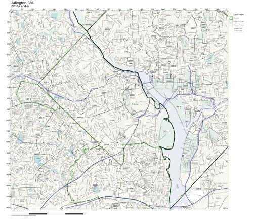 ZIP Code Wall Map of Arlington, VA ZIP Code Map Laminated