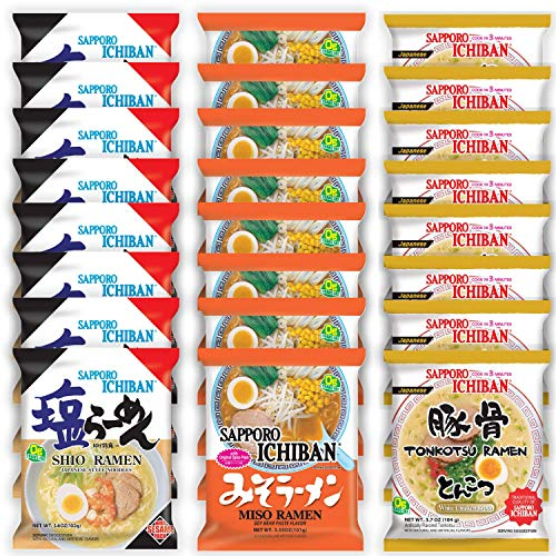 Sapporo Ichiban Variety Flavors Mix Packs Instant Ramen Noodles, Tonkotsu, Shio, and Miso Flavors Noodle Soup (Pack of 24)