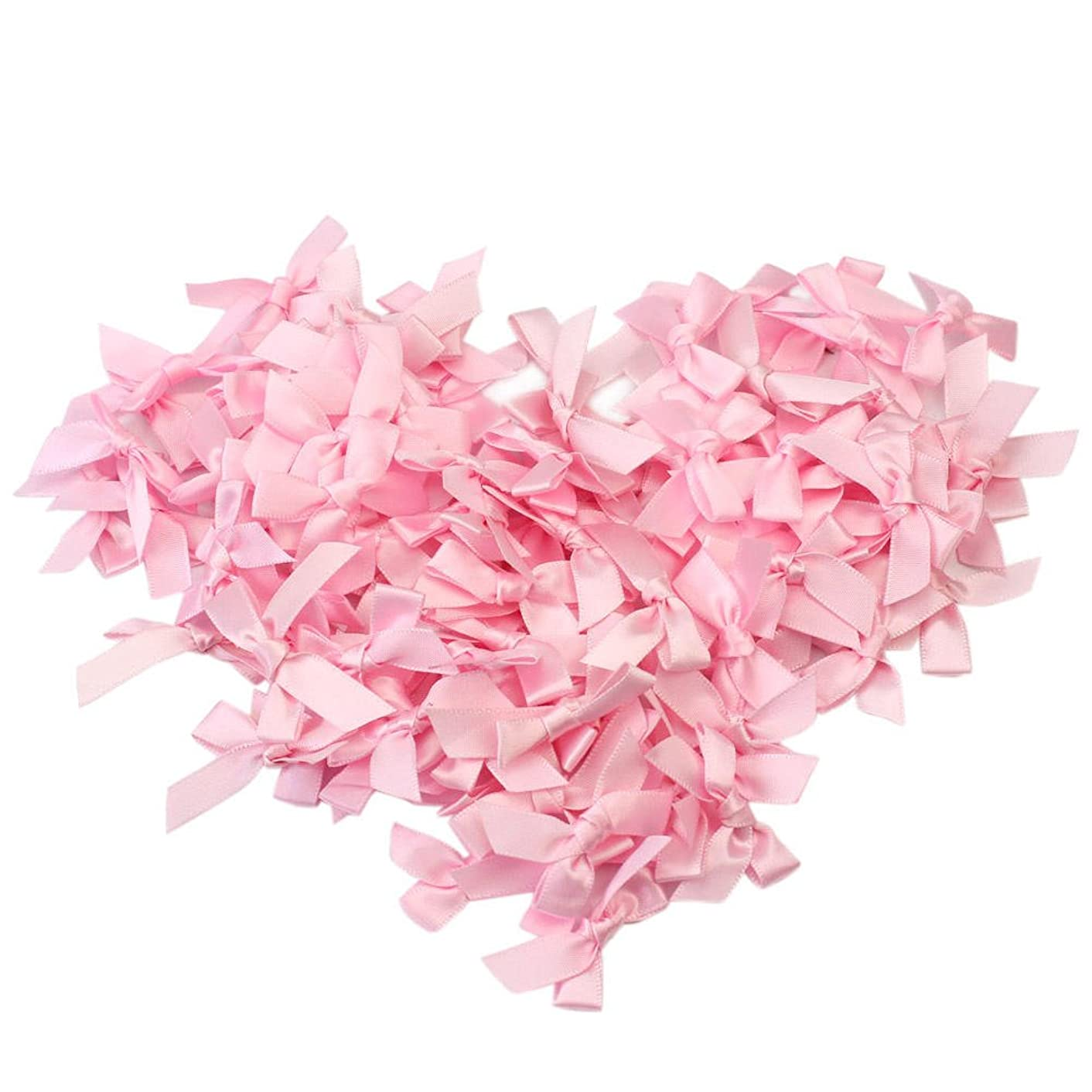 100pcs/Lot Handmade Small Polyester Satin Ribbon Bow Appliques Sewing Craft DIY Kids Girls Headwear Hair Accessories (Pink)