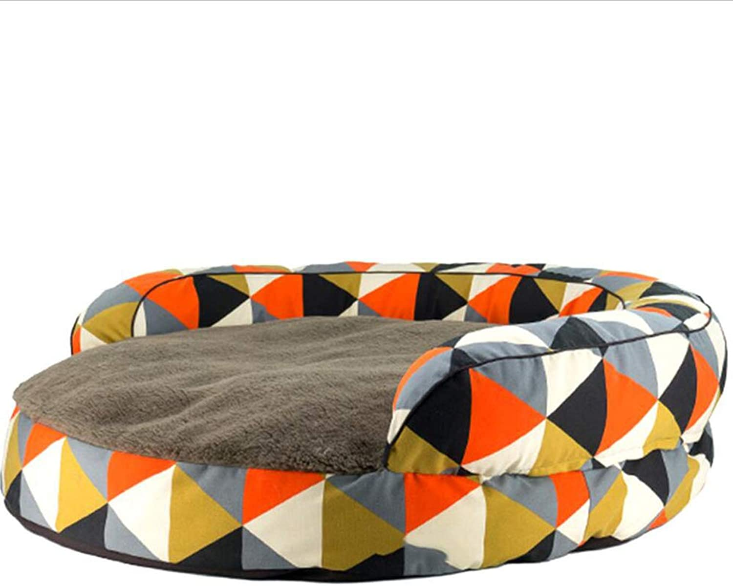 Pet Sofa Pet Bed Cat Kennel Kennel Cat Nest Pet Nest Dog Nest Removable Washable SemiClosed Autumn and Winter Warm Haiming (color   Brown)