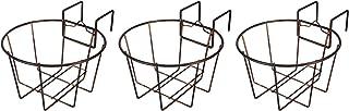TQVAI Over Deck Rail Planter Hanging Flower Pot Holder Balcony Plant Baskets, Set of 3, Rustic Copper/Antique Copper